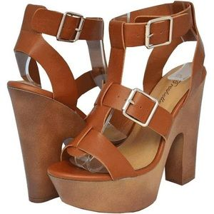 Brown Platform Block Heels